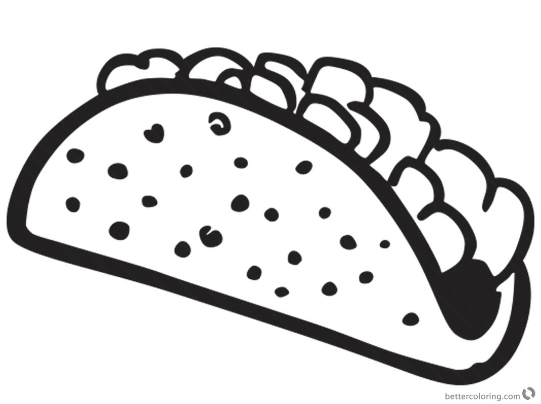 Taco Coloring Page Black And White For Kids Free