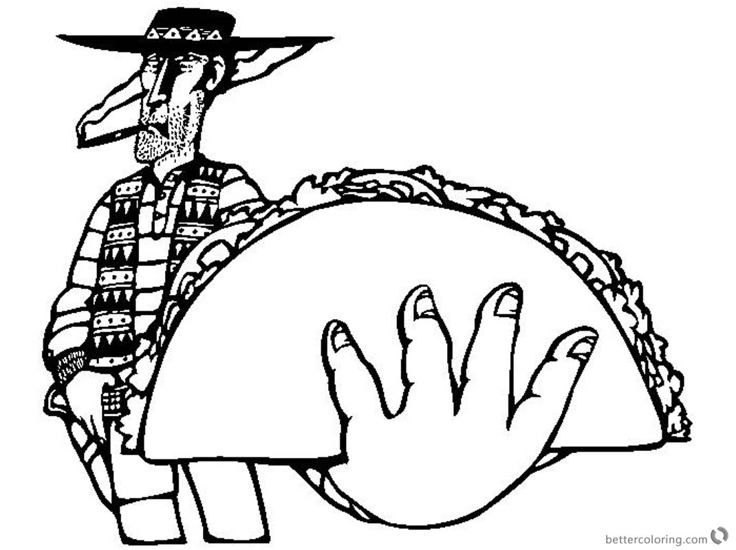 Taco Coloring Page Cool Bandit with Taco Drawing printable