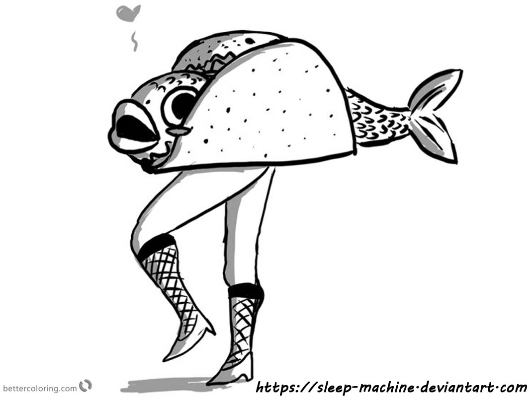Taco Coloring Page Fish Taco by Sleep Machine - Free ...