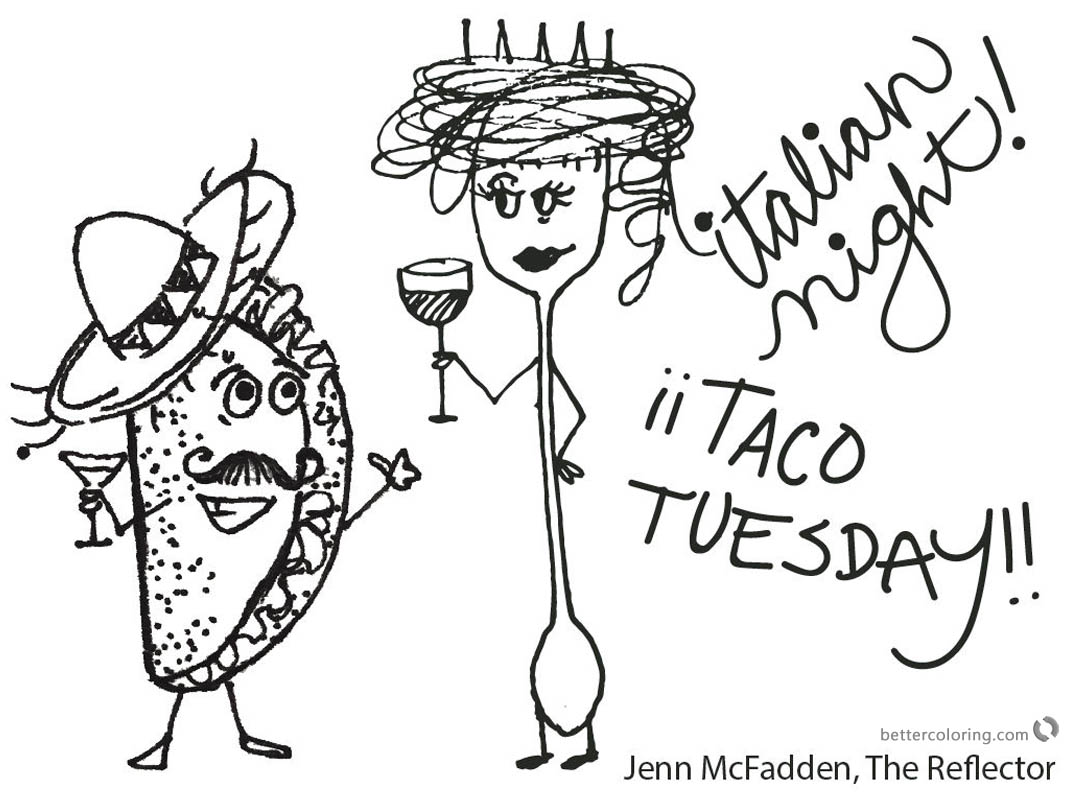 Taco Coloring Page Italian night printable