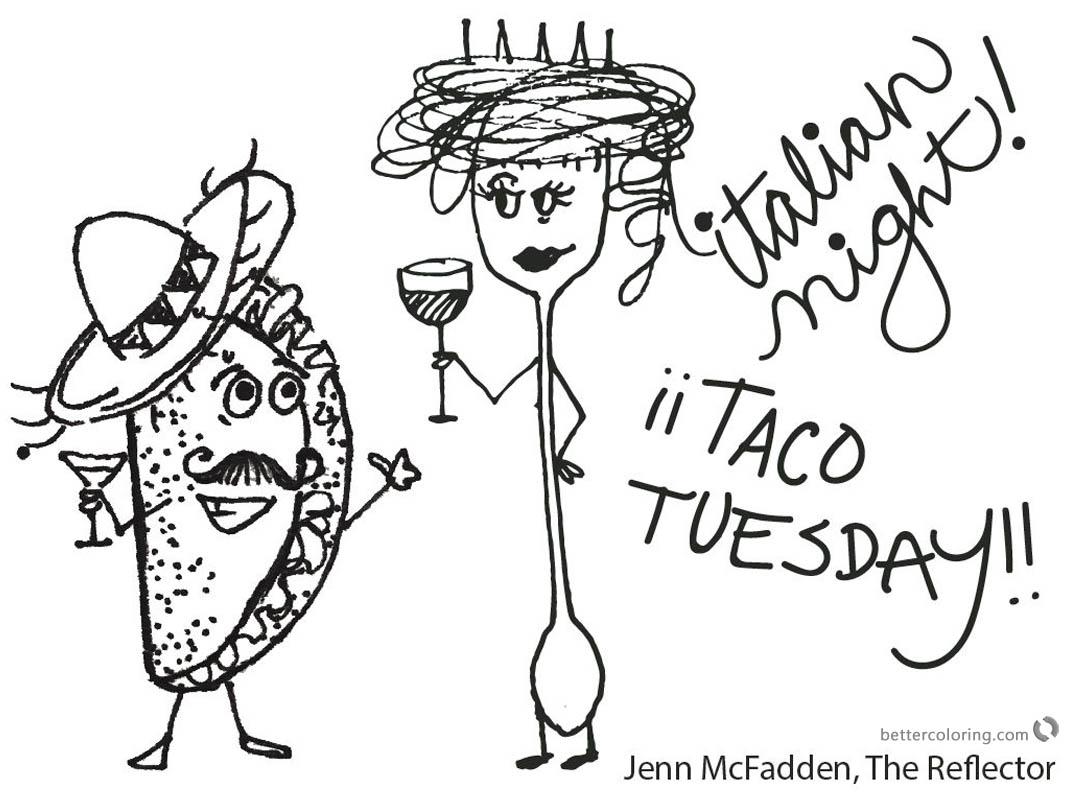 Taco Coloring Page Italian night by Jenn McFadden - Free Printable ...