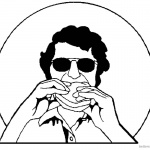 Taco Coloring Page Man Eating Taco