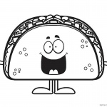Taco Coloring Page Smile Cartoon Taco