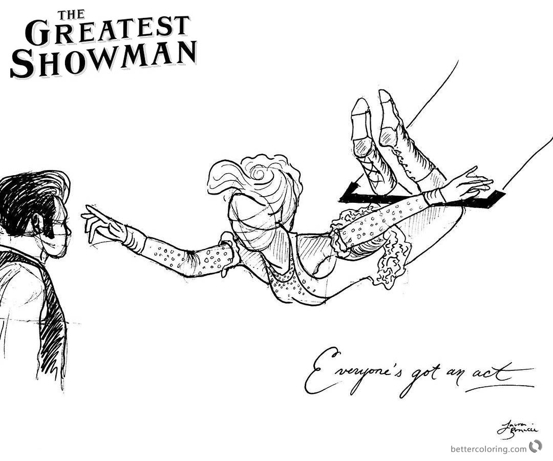 The Greatest Showman Coloring Pages Line Art printable