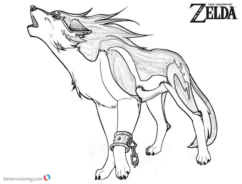 Legend of Zelda Wolf Coloring Pages Sketch - Free Printable Coloring ...