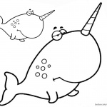 Two Cartoon Narwhal Coloring Pages with Big Head