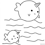 Two cute narwhals coloring pages