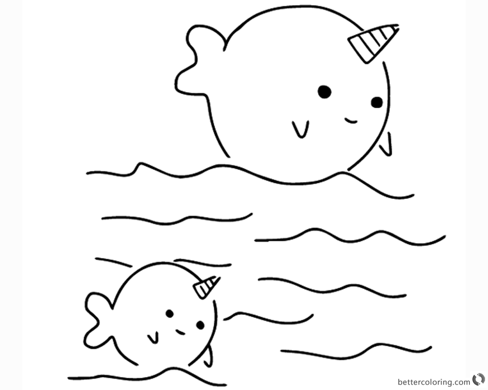 Two cute narwhals coloring pages free printable coloring for Narwhal coloring page