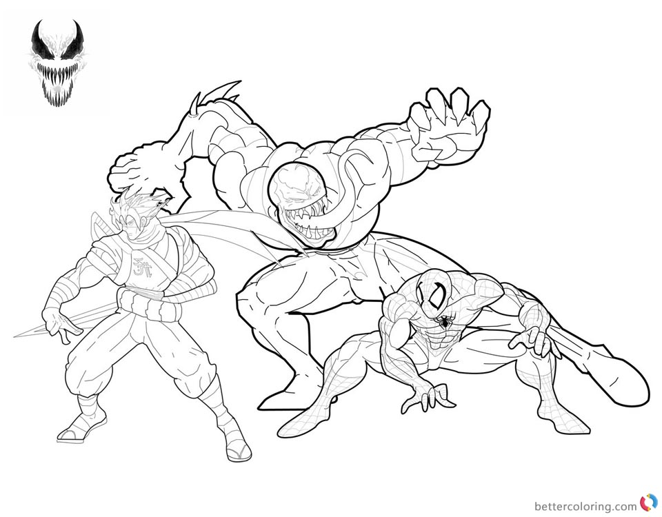 Venom Coloring Pages Anti Venom Spidey Strider printable and free