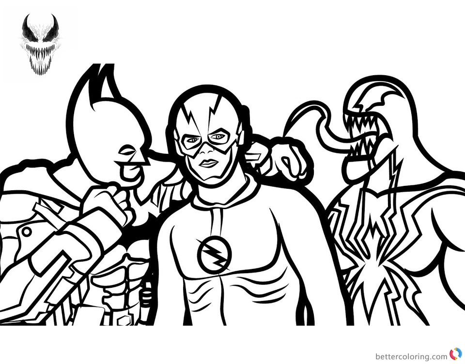Venom Coloring Pages Batman Venom and The Flash printable and free