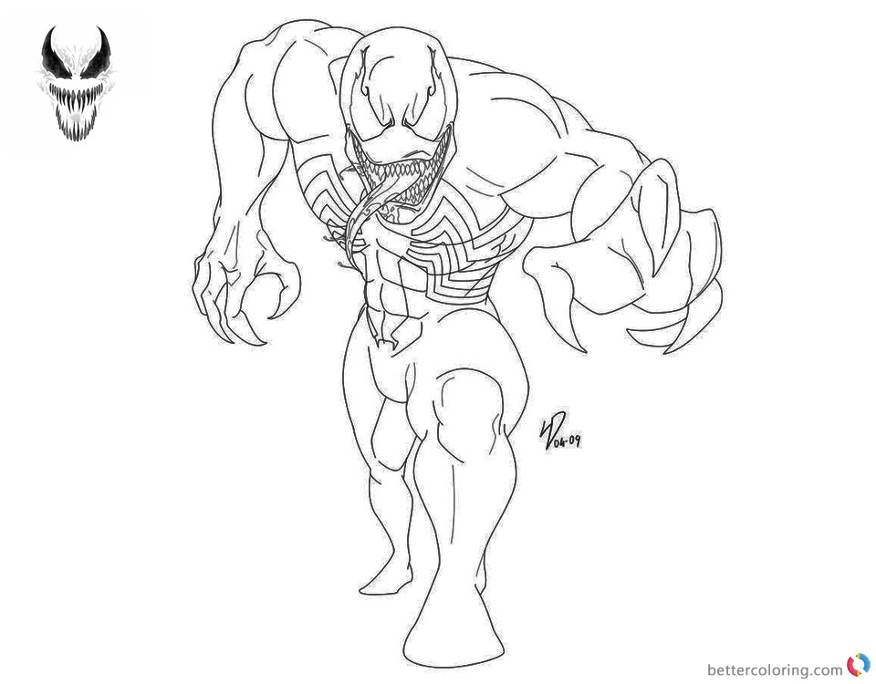 Venom Coloring Pages Black and White Lineart by deviantyurai printable and free