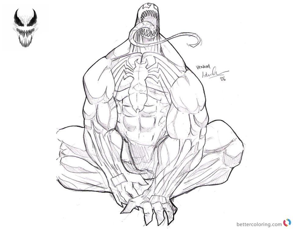 Venom Coloring Pages Cool Sketch