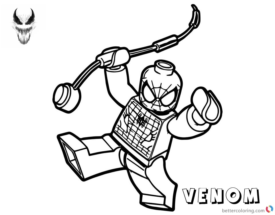 Venom Coloring Pages Lego Spiderman
