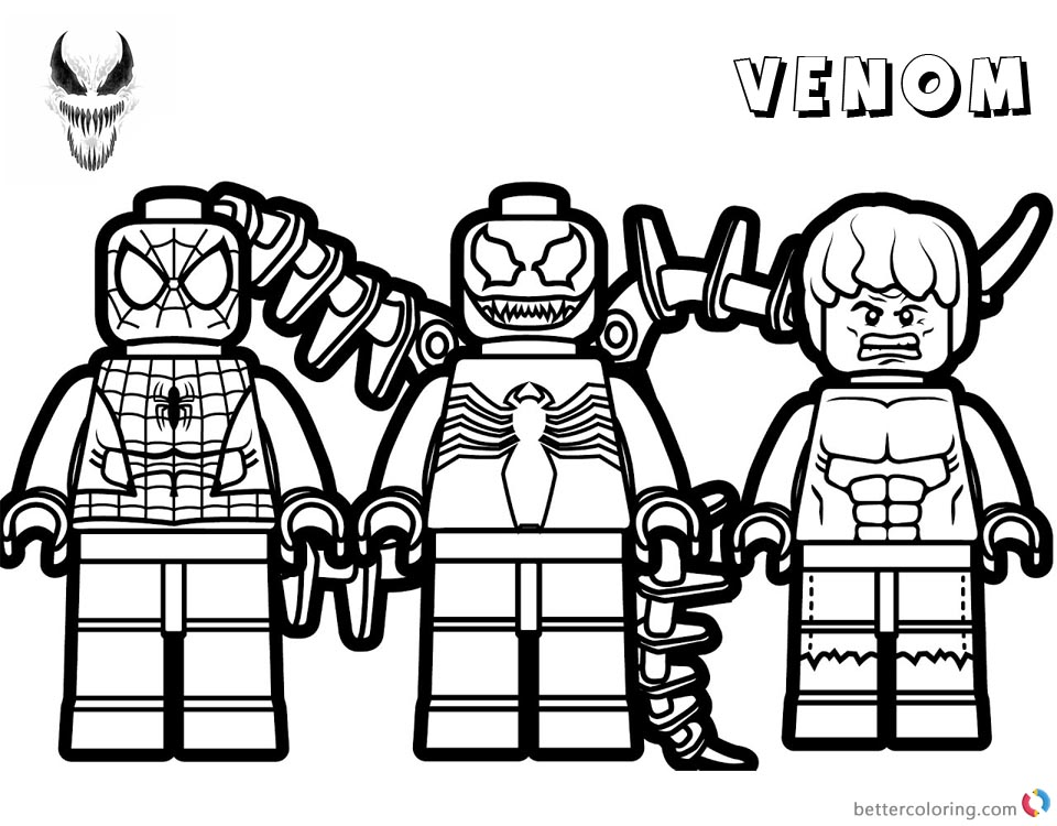 Venom Coloring Pages Lego Venom Spider Marvel Heroes printable and free