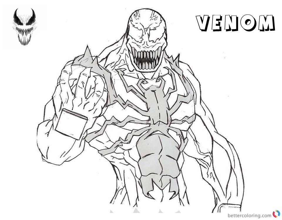 Venom Coloring Pages Lineart Drawing by noname37 - Free Printable ...