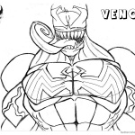 Venom Coloring Pages Lineart Half