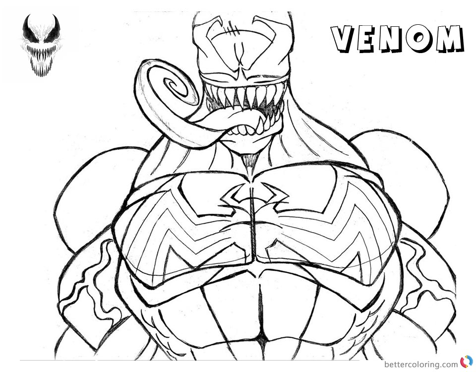 Venom Coloring Pages Lineart Half printable and free