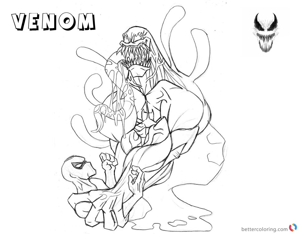 Venom Coloring Pages Lineart Picture