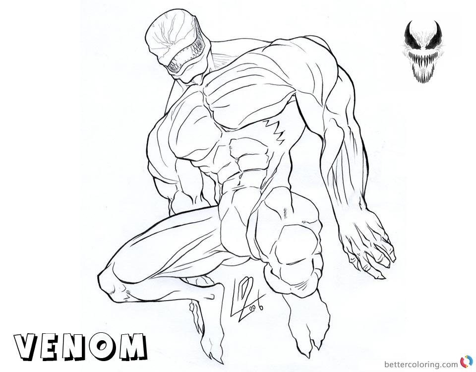 Venom Coloring Pages Lineart Picture by araeld printable and free