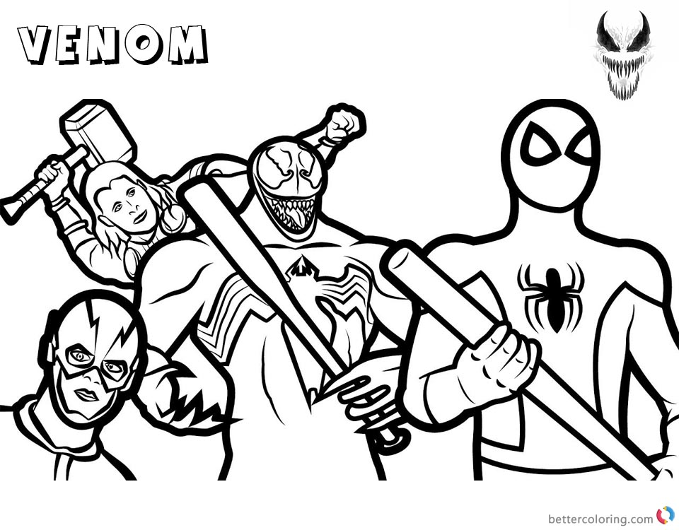 Venom Coloring Pages Marvel Heroes printable and free