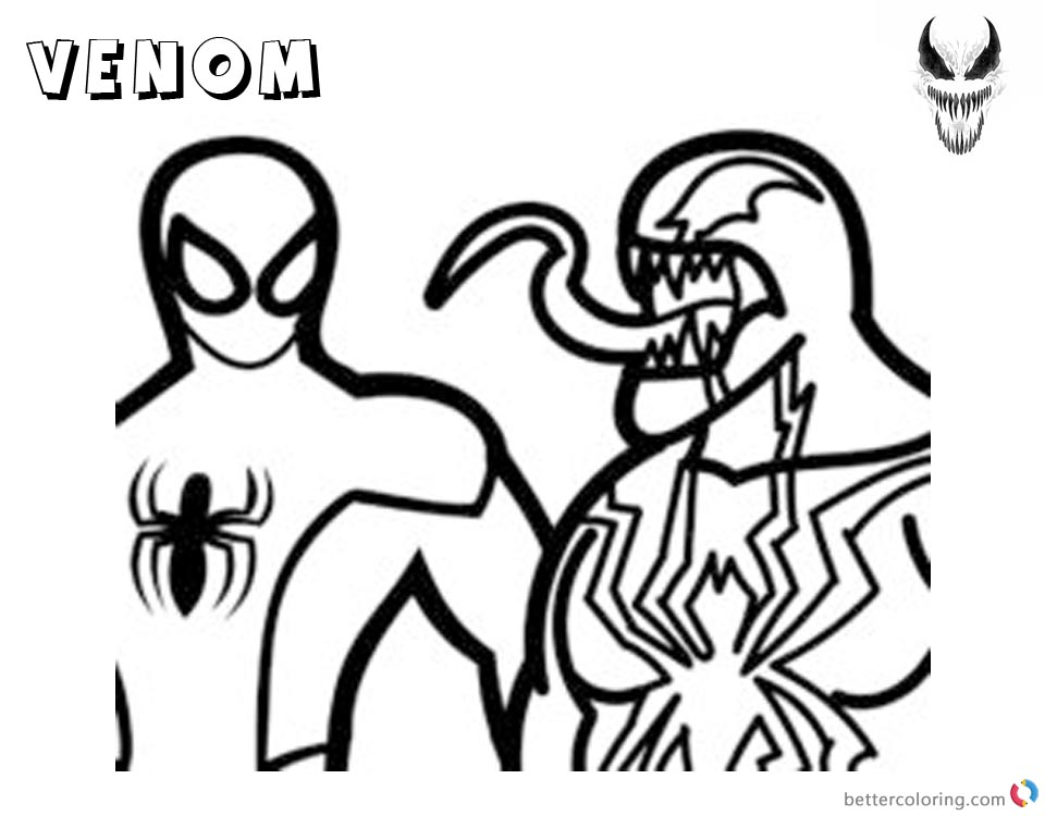 Venom Coloring Pages Simple Lineart Picture printable and free