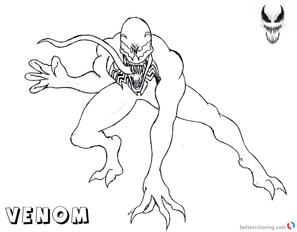 Venom Coloring Pages Simple Lineart printable and free