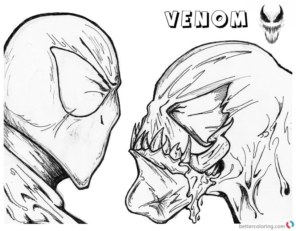 Venom Coloring Pages Spider man and Venom Uncolored printable and free