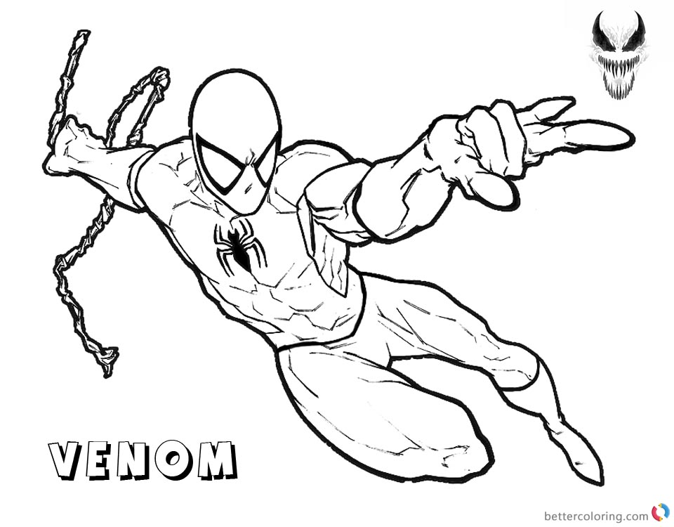 Venom Coloring Pages Spiderman Coming Free Printable