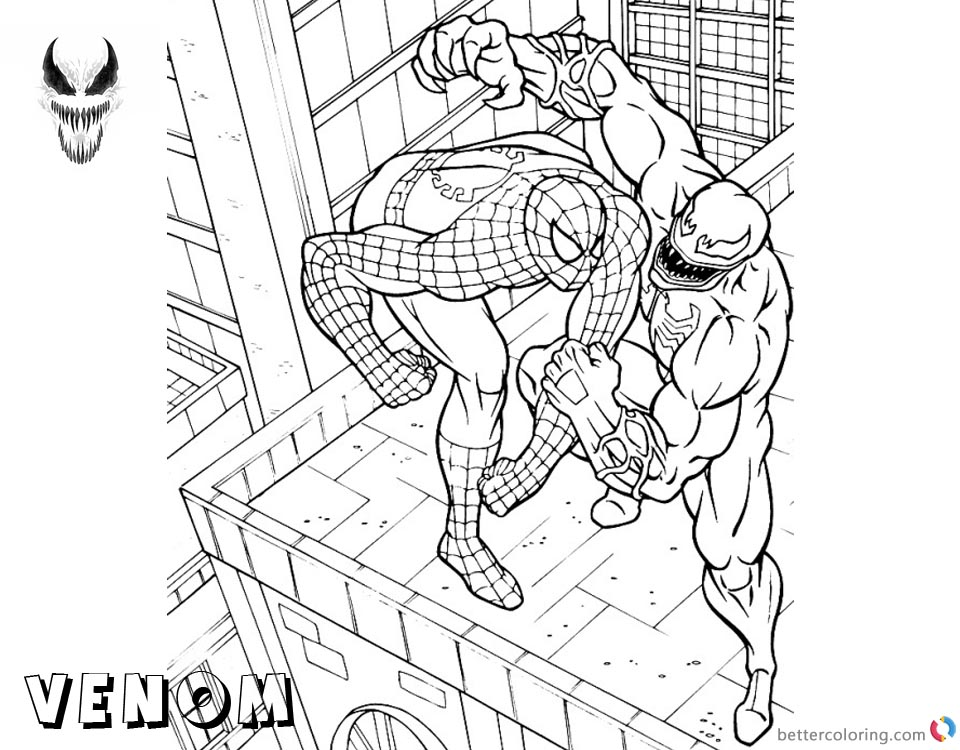 Venom Coloring Pages Spiderman Venom Fighting on the Building printable and free