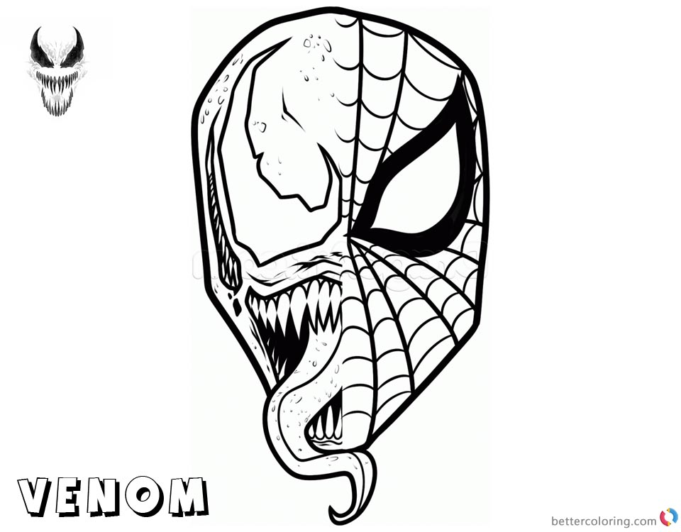 Venom Coloring Pages Spiderman x Venom Mask printable and free