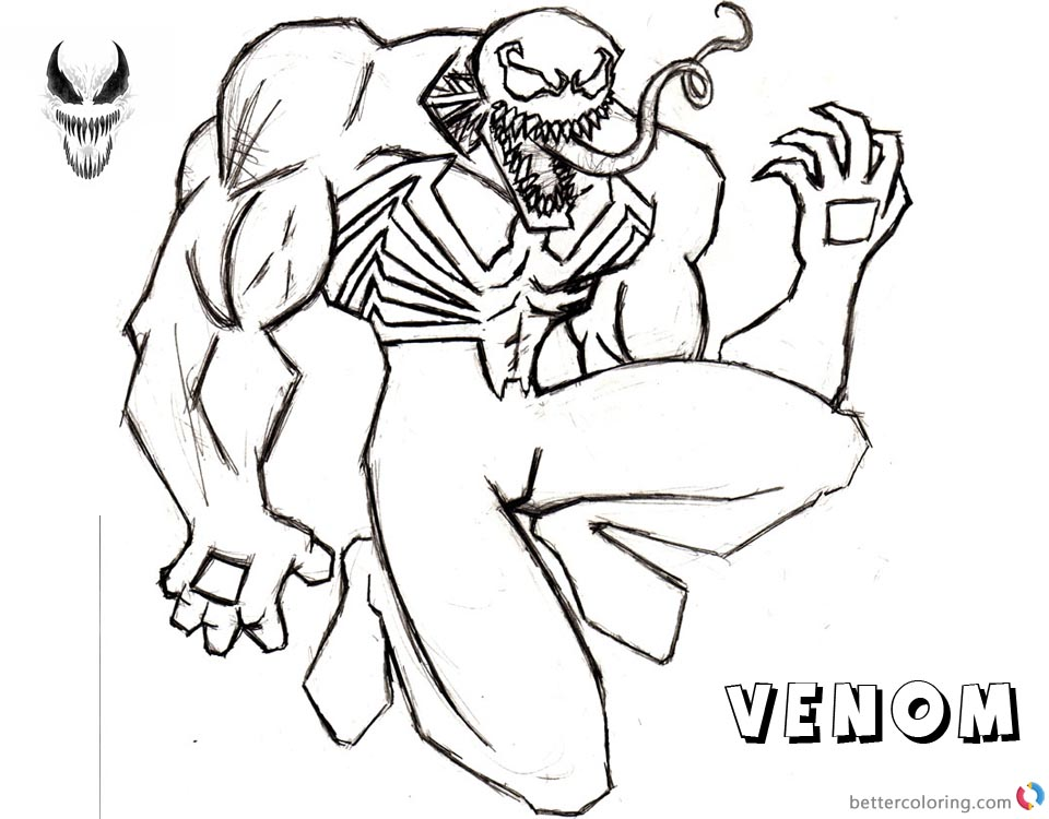 Venom Coloring Pages Tattoo Lineart by primusjim printable and free