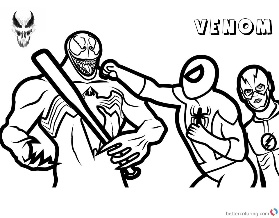 Venom Coloring Pages The Flash and Spiderman Fight Against Venom printable and free