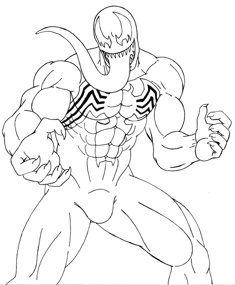 venom coloring pages for kids | Venom Coloring Pages Venom Lineart by 09tuf - Free ...