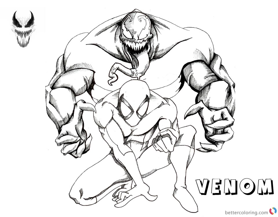 Venom Coloring Pages Venom and Spiderman Fanart printable and free