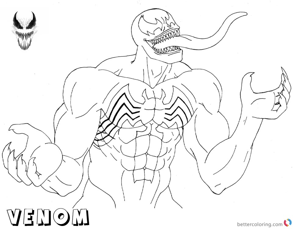 Childrens coloring pages spiderman and venom ~ Venom Coloring Pages We are Venom Lineart - Free Printable ...