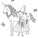 Pinkalicious Coloring Pages with her unicorn pet