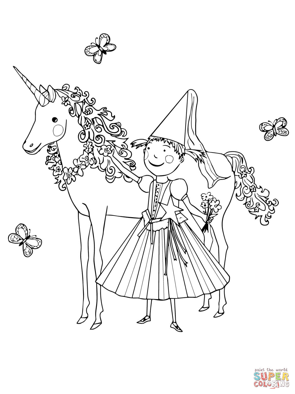 Pinkalicious Coloring Pages with her unicorn pet printable