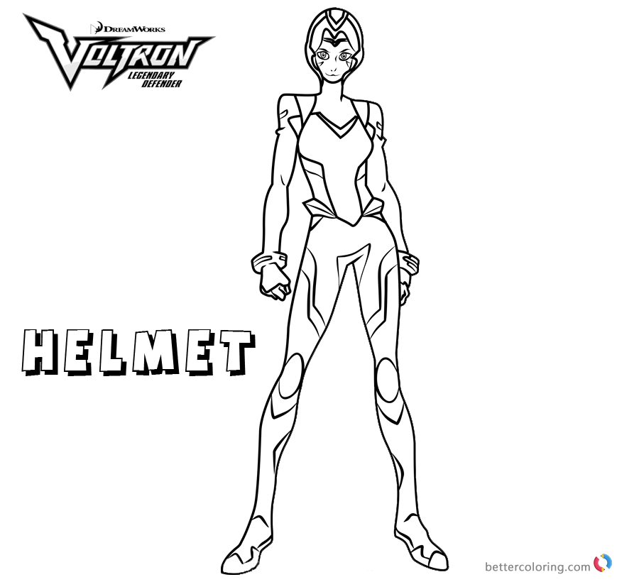 Voltron Coloring Pages Allura with Helmet printable