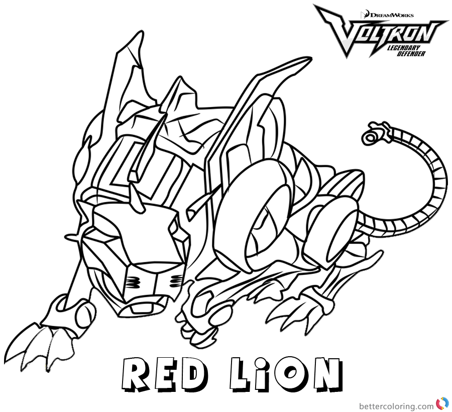 Voltron Coloring Pages Red Lion Free Printable Coloring