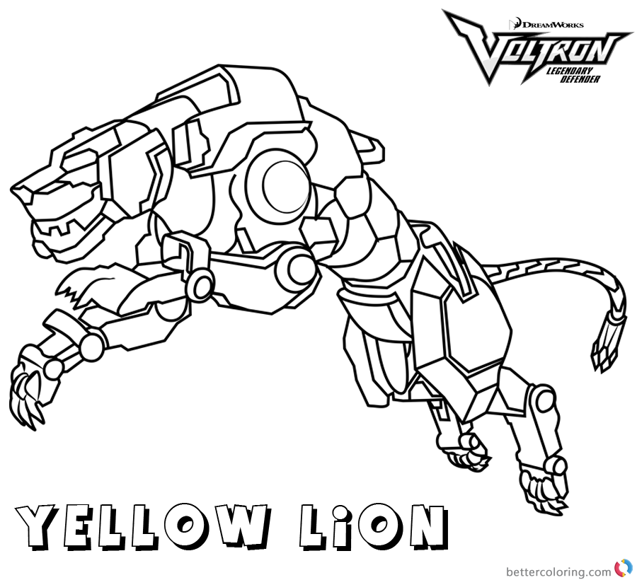 Voltron Coloring Pages Yellow Lion - Free Printable Coloring Pages