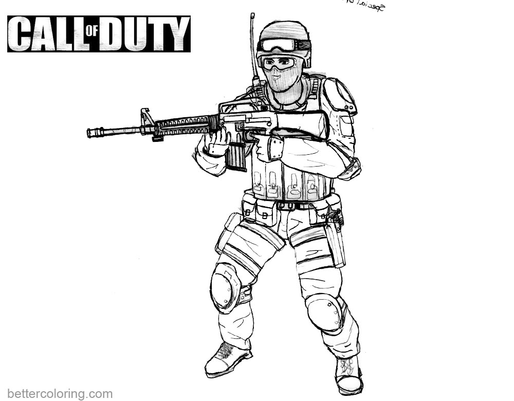 Call Of Duty Coloring Pages Black And White Free Printable