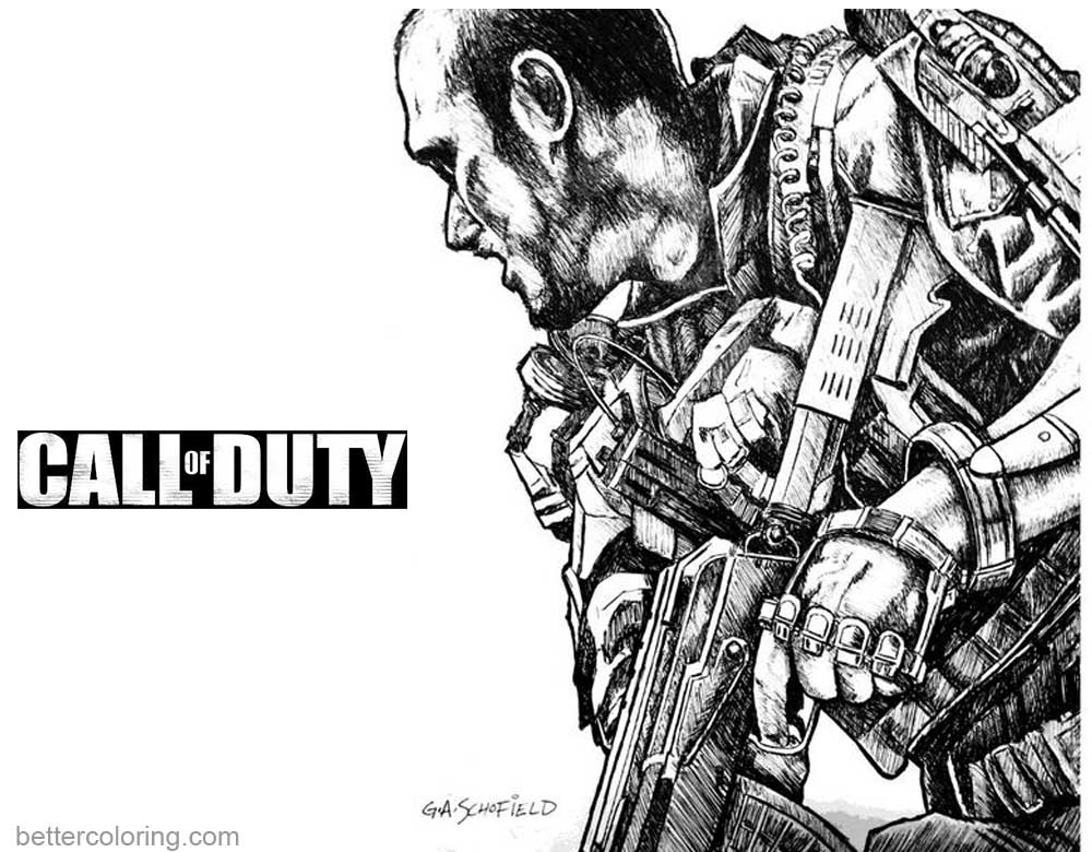 Call of Duty Coloring Pages Fan Art by Glen A Schofield printable for free