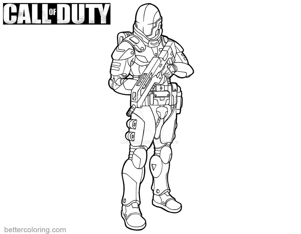 Call of Duty Coloring Pages Fan Line Art printable for free
