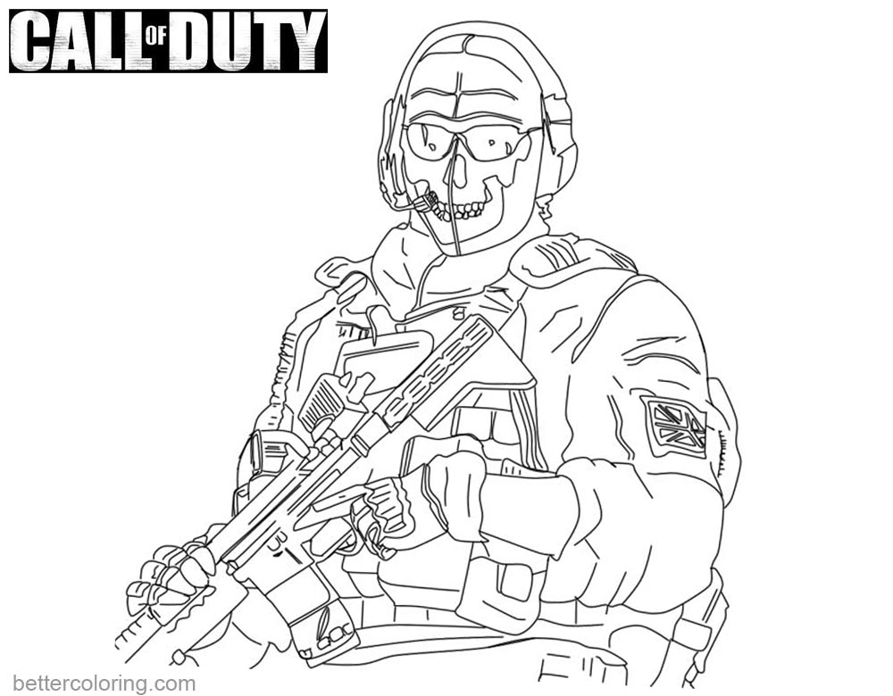 call of duty coloring pages ghost lineart printable for free - Call Of Duty Coloring Pages