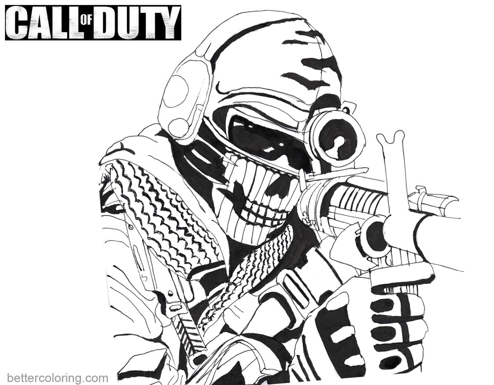 Call of Duty Coloring Pages Ghost by kopale printable for free