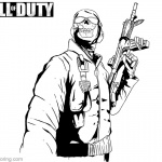 Call of Duty Coloring Pages Ghost with Gun