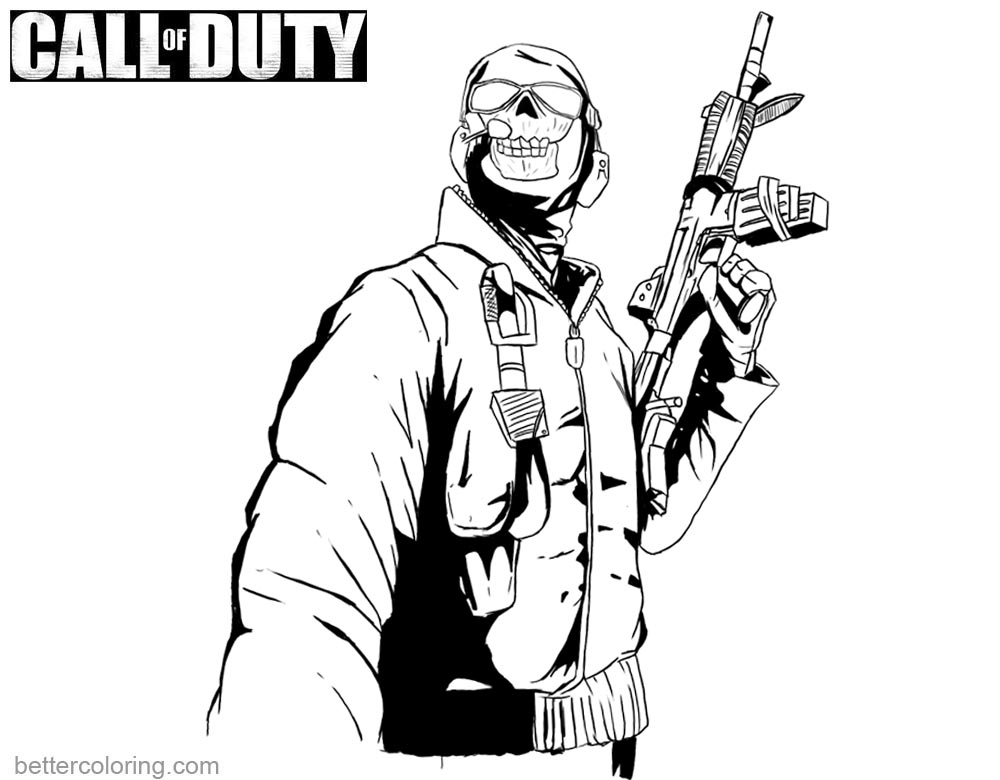 Call of Duty Coloring Pages Ghost with Gun - Free ...