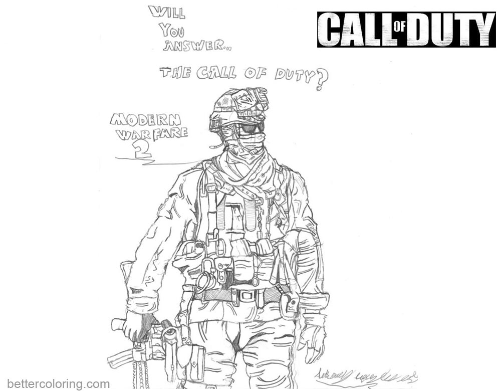 Call of Duty Coloring Pages Line Drawing printable for free