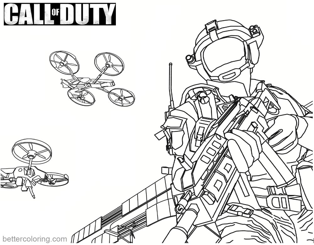 Call of Duty Coloring Pages MQ-27 Stunt Drone printable for free