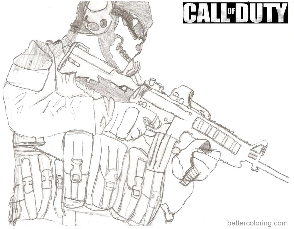 Call of Duty Coloring Pages Sketch printable for free
